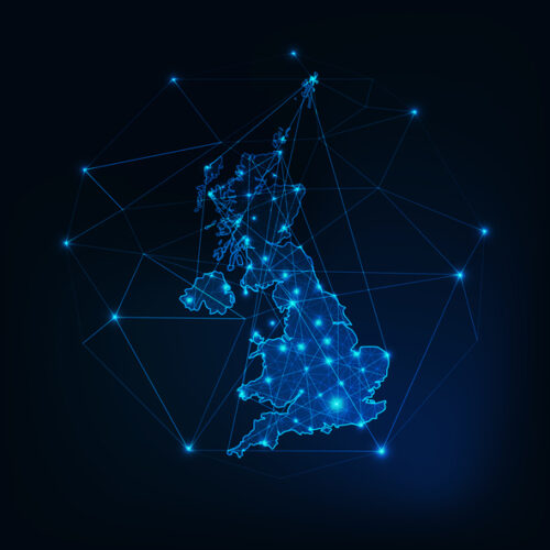 Corporate Tax Residency For Cross-Border Companies United Kingdom of Great Britain and Northern Ireland map outline. Communication, connection concept.Modern futuristic low polygonal, wireframe, lines and dots design. Vector illustration.