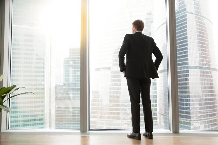 directors' loan account, Full length back view of successful businessman in big city